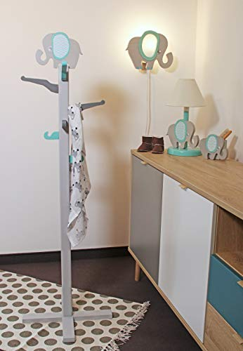 Clevere Kids Kinder Tischlampe Alle Meine Tiere Holz Handarbeit A++ (Elefant blau) - 4