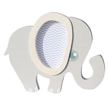 Clevere Kids Kinder Wandlampe Alle Meine Tiere Holz Handarbeit A++ (Elefant grau) - 1