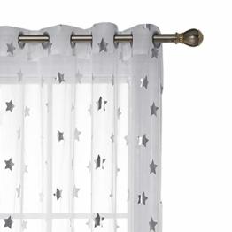 Deconovo Voile Vorhänge Ösen Transparent Gardinen Ösen Vorhänge Kinderzimmer 245x140 cm Weiß Großes Stern 2er Set - 1