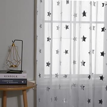 Deconovo Voile Vorhänge Ösen Transparent Gardinen Ösen Vorhänge Kinderzimmer 245x140 cm Weiß Großes Stern 2er Set - 4