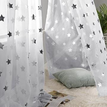 Deconovo Voile Vorhänge Ösen Transparent Gardinen Ösen Vorhänge Kinderzimmer 245x140 cm Weiß Großes Stern 2er Set - 5
