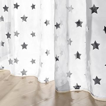 Deconovo Voile Vorhänge Ösen Transparent Gardinen Ösen Vorhänge Kinderzimmer 245x140 cm Weiß Großes Stern 2er Set - 6