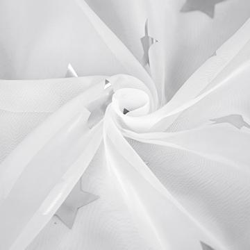 Deconovo Voile Vorhänge Ösen Transparent Gardinen Ösen Vorhänge Kinderzimmer 245x140 cm Weiß Großes Stern 2er Set - 8