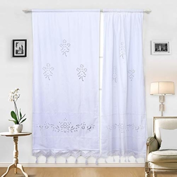 DOKOT Leinen Baumwolle Stickerei Küche Vorhang, Cafe Vorhang, Esszimmer Vorhang mit Crochet Tassel Border - 1