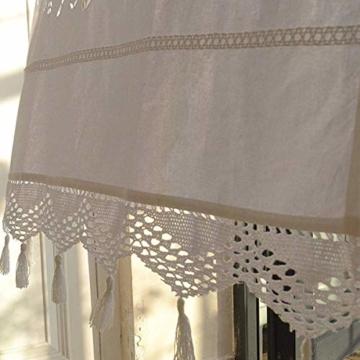 DOKOT Leinen Baumwolle Stickerei Küche Vorhang, Cafe Vorhang, Esszimmer Vorhang mit Crochet Tassel Border - 5