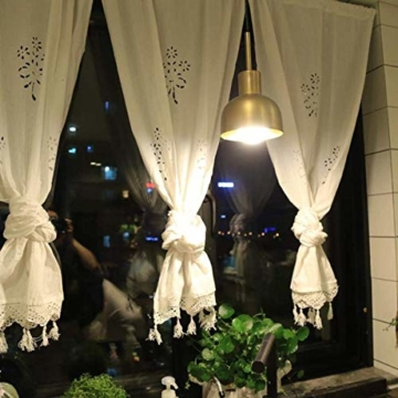 DOKOT Leinen Baumwolle Stickerei Küche Vorhang, Cafe Vorhang, Esszimmer Vorhang mit Crochet Tassel Border - 6