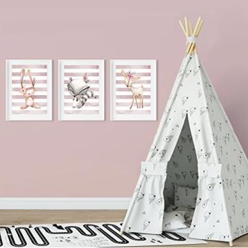 Frechdax® 3er Set Kinderzimmer Babyzimmer Poster Bilder DIN A4 | Mädchen Junge Deko | Dekoration Kinderzimmer | Waldtiere REH Fuchs Hase (3er Set Altrosa, Hase, REH, Waschbär) - 2