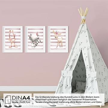 Frechdax® 3er Set Kinderzimmer Babyzimmer Poster Bilder DIN A4 | Mädchen Junge Deko | Dekoration Kinderzimmer | Waldtiere REH Fuchs Hase (3er Set Altrosa, Hase, REH, Waschbär) - 3