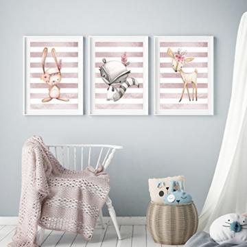 Frechdax® 3er Set Kinderzimmer Babyzimmer Poster Bilder DIN A4 | Mädchen Junge Deko | Dekoration Kinderzimmer | Waldtiere REH Fuchs Hase (3er Set Altrosa, Hase, REH, Waschbär) - 4