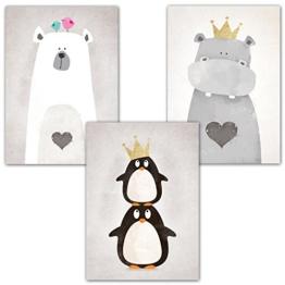 Frechdax® 3er-Set Kinderzimmer Babyzimmer Poster DIN A4 ohne Bilderrahmen | Mädchen Junge | Kinderposter Kunstdruck im skandinavischen Stil | schwarz/weiss oder bunt | Set-12 - 1