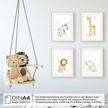 Frechdax® 4er Set Kinderzimmer Babyzimmer Poster Bilder DIN A4 | Mädchen Junge Deko | Dekoration Kinderzimmer | Waldtiere Safari Skandinavisch (4er Set Nashorn, Giraffe, Elefant, Löwe) - 3