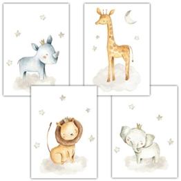 Frechdax® 4er Set Kinderzimmer Babyzimmer Poster Bilder DIN A4 | Mädchen Junge Deko | Dekoration Kinderzimmer | Waldtiere Safari Skandinavisch (4er Set Nashorn, Giraffe, Elefant, Löwe) - 1