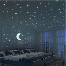 FRETOD Leuchtkraft Mond und Sternenhimmel Aufkleber XL Set - 300 Sticker für Sternenhimmel Leuchtend im Dunkeln - Fluoreszierende Wandsticker Deko fürs Kinderzimmer - 1