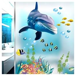 Grandora Wandtattoo Unterwasserwelt Delfin Fische Badewanne Badezimmer Bad selbstklebend Aufkleber Wandsticker Wandaufkleber Sticker W5293 - 1