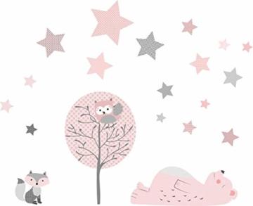 greenluup ökologische XL Wandsticker Wandaufkleber Tiere in Rosa Grau Waldtiere Bär Baum Fuchs Sterne aus ökologischen Materialien Kinderzimmer Babyzimmer Deko Wanddekoration (w6) - 2
