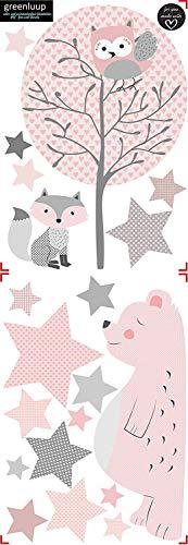 greenluup ökologische XL Wandsticker Wandaufkleber Tiere in Rosa Grau Waldtiere Bär Baum Fuchs Sterne aus ökologischen Materialien Kinderzimmer Babyzimmer Deko Wanddekoration (w6) - 3