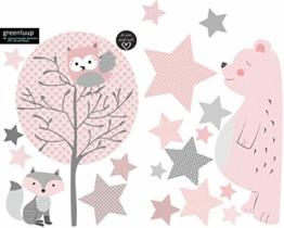 greenluup ökologische XL Wandsticker Wandaufkleber Tiere in Rosa Grau Waldtiere Bär Baum Fuchs Sterne aus ökologischen Materialien Kinderzimmer Babyzimmer Deko Wanddekoration (w6) - 1