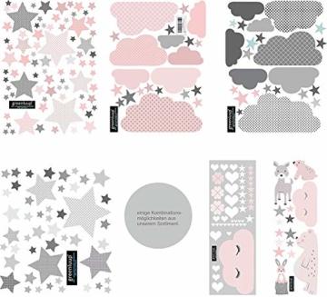 greenluup ökologische XL Wandsticker Wandaufkleber Tiere in Rosa Grau Waldtiere Bär Baum Fuchs Sterne aus ökologischen Materialien Kinderzimmer Babyzimmer Deko Wanddekoration (w6) - 4