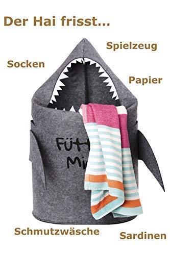 Grinsefisch Wäschekorb Kinderzimmer - Spielzeug Aufbewahrung für Kinder aus Filz - Papierkorb oder Spielzeugkorb Hai - 2