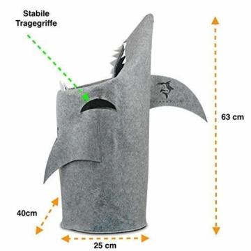 Grinsefisch Wäschekorb Kinderzimmer - Spielzeug Aufbewahrung für Kinder aus Filz - Papierkorb oder Spielzeugkorb Hai - 3