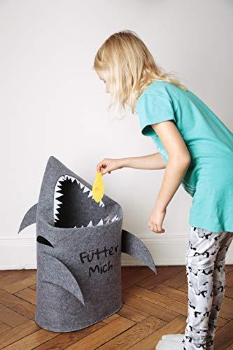 Grinsefisch Wäschekorb Kinderzimmer - Spielzeug Aufbewahrung für Kinder aus Filz - Papierkorb oder Spielzeugkorb Hai - 4