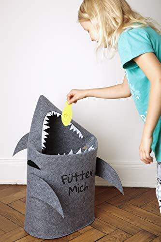Grinsefisch Wäschekorb Kinderzimmer - Spielzeug Aufbewahrung für Kinder aus Filz - Papierkorb oder Spielzeugkorb Hai - 7