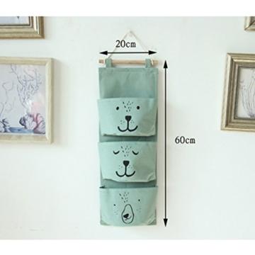 GWELL Süß Ordnungssysteme Hängender Organizer mit 3 Taschen Hängeorganizer Hängeaufbewahrung Aufbewahrungstasche für Kinderzimmer, Schlafzimmer, Tür grün - 4