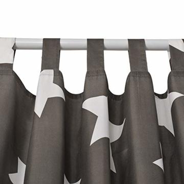 jartex Schlaufen Vorhang Grau 2er Set Stern Kinderzimmer Halb Blickdichte Gardinen Schlaufenschal Fenster Deko 140x240cm Mädchen Weihnachten - 3