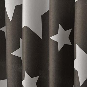 jartex Schlaufen Vorhang Grau 2er Set Stern Kinderzimmer Halb Blickdichte Gardinen Schlaufenschal Fenster Deko 140x240cm Mädchen Weihnachten - 4