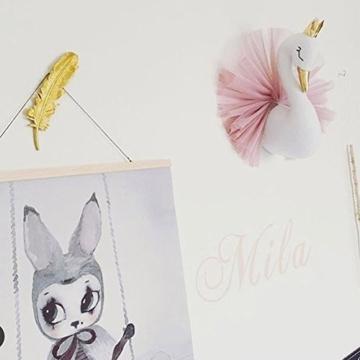 Kinderzimmer Dekoration,Crown Swan Wandbehang Dekoration Wand Dekorative Puppe Tierkopf fürs Kinderzimmer - 3