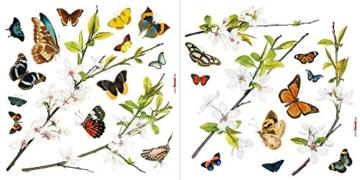 Komar - Window-Sticker CHEERFUL - 31 x 31cm - Fensterdeko, Fenstersticker, Fensterfolie, Schmetterlinge, Butterfly, Blume, Zweige - 16006 - 2