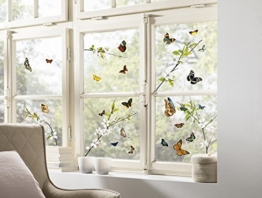 Komar - Window-Sticker CHEERFUL - 31 x 31cm - Fensterdeko, Fenstersticker, Fensterfolie, Schmetterlinge, Butterfly, Blume, Zweige - 16006 - 1