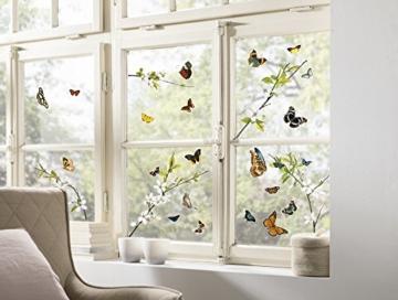 Komar - Window-Sticker CHEERFUL - 31 x 31cm - Fensterdeko, Fenstersticker, Fensterfolie, Schmetterlinge, Butterfly, Blume, Zweige - 16006 - 1