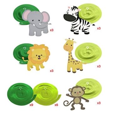 Konsait Tier Party deko Hängedekoration Folie Spiral Girlanden für Kinderparty Junge und Mädchen Geburtstags Dekoration, 30 teilig Set - 2