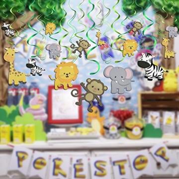 Konsait Tier Party deko Hängedekoration Folie Spiral Girlanden für Kinderparty Junge und Mädchen Geburtstags Dekoration, 30 teilig Set - 5