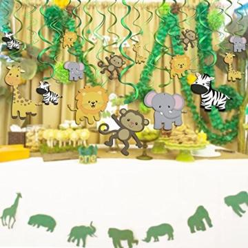 Konsait Tier Party deko Hängedekoration Folie Spiral Girlanden für Kinderparty Junge und Mädchen Geburtstags Dekoration, 30 teilig Set - 6