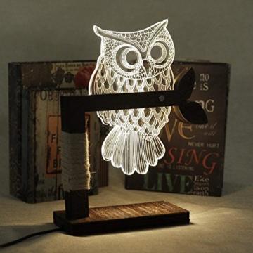 LED Dimmbar CITTATREND Tischleuchte - 3D Visual Acryl Eule Deco Holz Nachttischlampe - Warmweiß Nachtlicht - Geschenk für Kinderzimmer Schlarfzimmer - 2