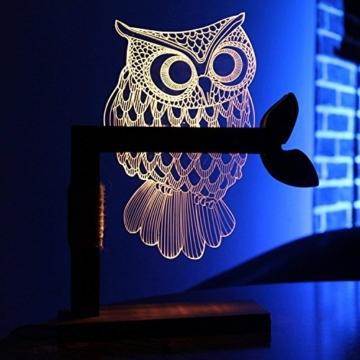 LED Dimmbar CITTATREND Tischleuchte - 3D Visual Acryl Eule Deco Holz Nachttischlampe - Warmweiß Nachtlicht - Geschenk für Kinderzimmer Schlarfzimmer - 3