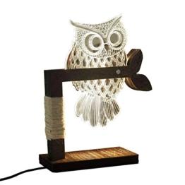 LED Dimmbar CITTATREND Tischleuchte - 3D Visual Acryl Eule Deco Holz Nachttischlampe - Warmweiß Nachtlicht - Geschenk für Kinderzimmer Schlarfzimmer - 1