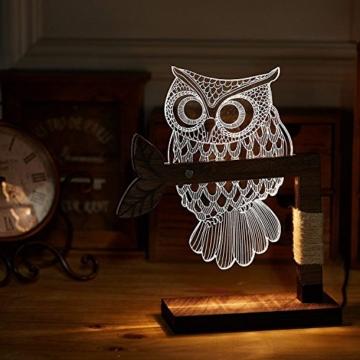 LED Dimmbar CITTATREND Tischleuchte - 3D Visual Acryl Eule Deco Holz Nachttischlampe - Warmweiß Nachtlicht - Geschenk für Kinderzimmer Schlarfzimmer - 4
