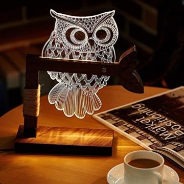 LED Dimmbar CITTATREND Tischleuchte - 3D Visual Acryl Eule Deco Holz Nachttischlampe - Warmweiß Nachtlicht - Geschenk für Kinderzimmer Schlarfzimmer - 5