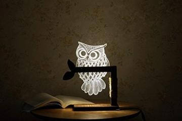 LED Dimmbar CITTATREND Tischleuchte - 3D Visual Acryl Eule Deco Holz Nachttischlampe - Warmweiß Nachtlicht - Geschenk für Kinderzimmer Schlarfzimmer - 6