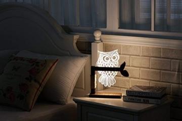 LED Dimmbar CITTATREND Tischleuchte - 3D Visual Acryl Eule Deco Holz Nachttischlampe - Warmweiß Nachtlicht - Geschenk für Kinderzimmer Schlarfzimmer - 7