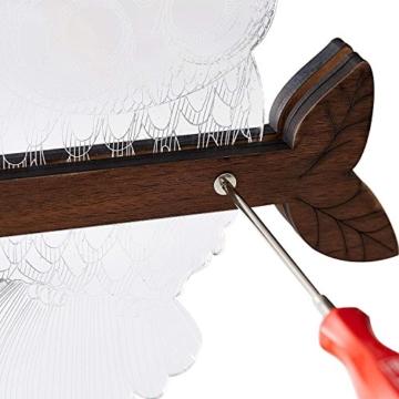 LED Dimmbar CITTATREND Tischleuchte - 3D Visual Acryl Eule Deco Holz Nachttischlampe - Warmweiß Nachtlicht - Geschenk für Kinderzimmer Schlarfzimmer - 9