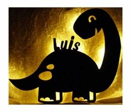 Led Dinolampe Lampe Deko Kinder Wandlampe Dino mit Name personalisiert Geschenke für Dinosaurier Kinderzimmer Dinozimmer Jungen Mädchen - 1