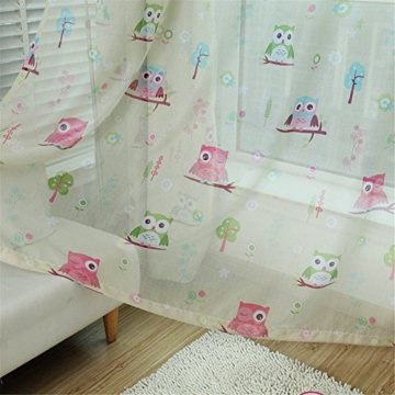 LianLe Vorhang Gardine mit Ösen Eule Druck Blickdicht Schlaufenschal 100 * 250 cm Wohnzimmer Kinderzimmer Deko (B: 1 Stk Transparent Voile, Grün) - 1