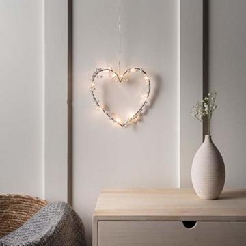 Lights4fun 10er Micro LED Herz Silhouette perlweiß Batteriebetrieb mit Perlen Timer - 2