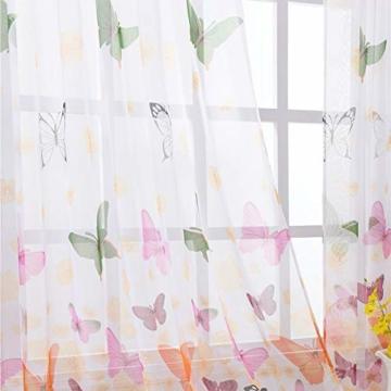 Litthing Vorhang Blumen Gardine Frühlings Blumenmuster Transparenter Stickerei für Wohnzimmer Schlafzimmer Studierzimmer (Schmetterling) - 2