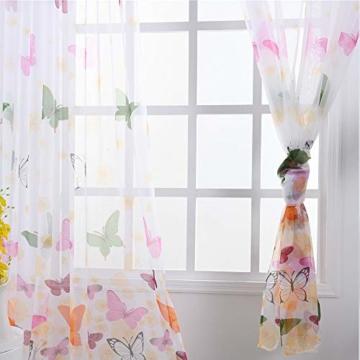 Litthing Vorhang Blumen Gardine Frühlings Blumenmuster Transparenter Stickerei für Wohnzimmer Schlafzimmer Studierzimmer (Schmetterling) - 3