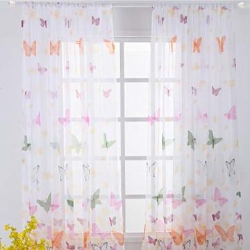 Litthing Vorhang Blumen Gardine Frühlings Blumenmuster Transparenter Stickerei für Wohnzimmer Schlafzimmer Studierzimmer (Schmetterling) - 1